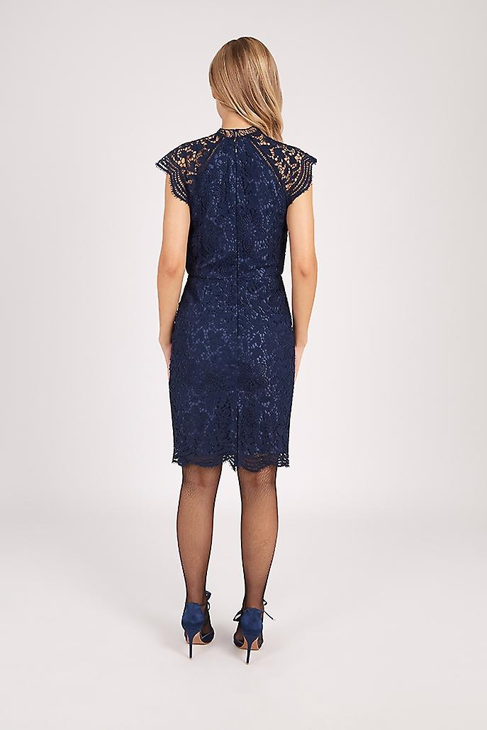 Chi Chi Lace Fitted Pencil Dress Navy