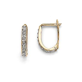 14k Yellow Gold Polished Diamond Fascination Leverback Hinged Hoop Earrings Jewelry Gifts for Women