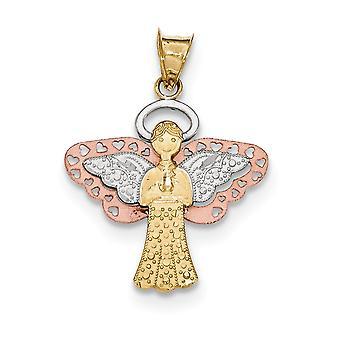 14k oro e rosa con ciondolo di angelo rodio lucido e satinato