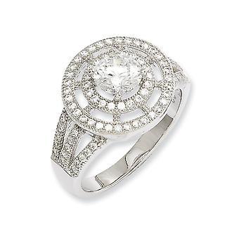 925 Sterling Silber und CZ Zirkonia simuliert Diamant Runde poliert Fancy Ring Größe 8 Schmuck Geschenke für Frauen
