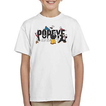 Popeye Comic Book Characters Dark Text Kid's T-Shirt