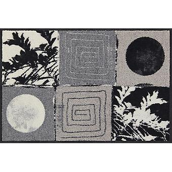Salonloewe Doormat nero e bianco lavabile Anna Flores