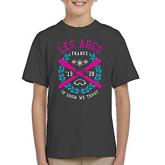 Les Arcs France '19 '20 Skiing Crest Kid's T-Shirt