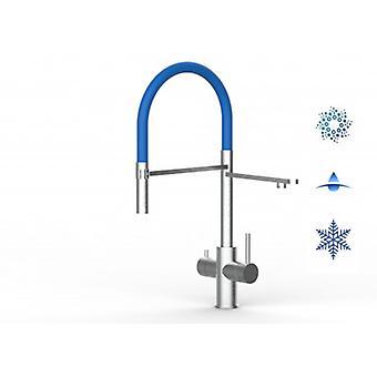 5 Way Inox filter kran idealisk för Professionella gnistrande, släta och kylda vattensystem-borstad finish-blå-446