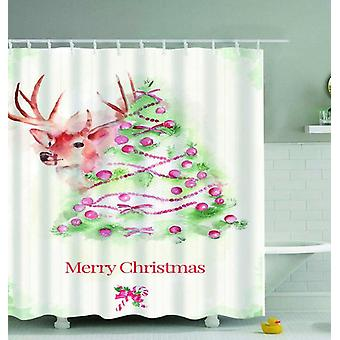 Reindeer Merry Christmas Art Painting Shower Curtain
