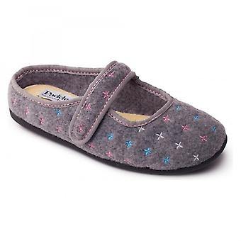 Padders Heidi Ladies Felt Extra Wide (2e/3e) Mule Slippers Grey