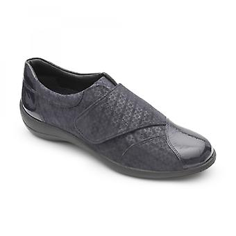 Padders Rose Ladies Leather Wide (e Fit) Shoes Navy Combi