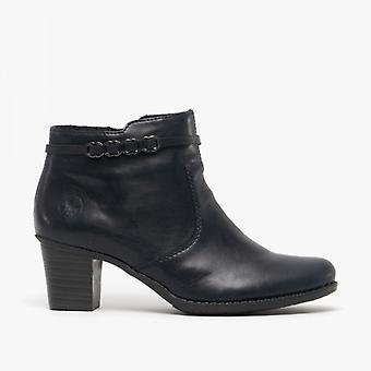 Rieker L7678-14 Ladies Block Heel Ankle Boots Navy