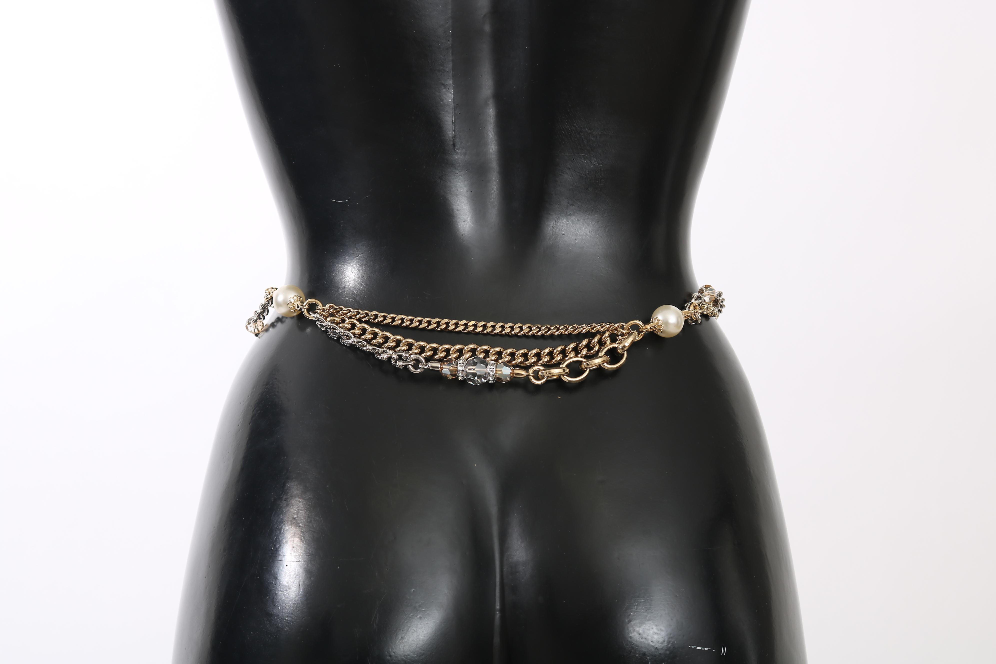 Gray Leather Gold Chain Crystal Pearl Belt