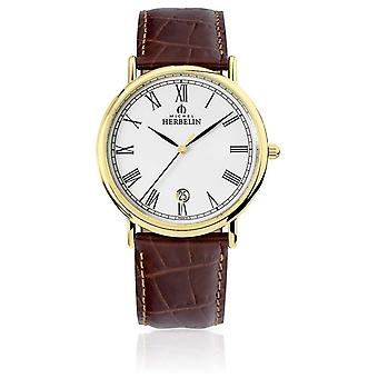 Michel Herbelin Mens Classic|Brown Leather Strap 12248/P01MA Watch