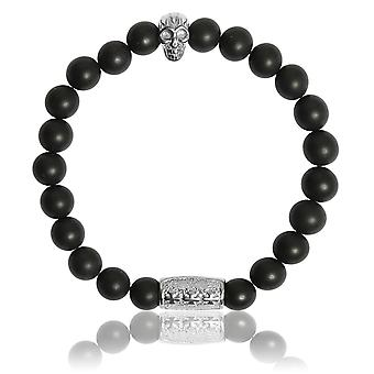 Lauren Steven Design ML016 Bracelet - Onyx Black Mat Men's Natural Stone Bracelet