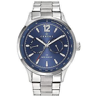 Horloge Certus 616465-zilver staal blauw wijzerplaat heren