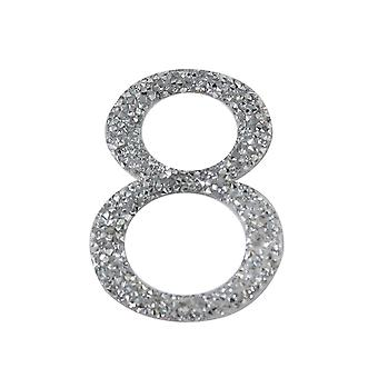 Silver Glitter Number Sticker - Number 8