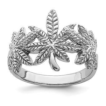 925 Sterling Silber Rhodium vergoldet poliert Blatt Ring Schmuck Geschenke für Frauen - Ring Größe: 6 bis 8