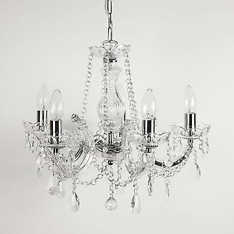 THLC Marie Therese Classic Ceiling Chandelier With Crystal Glass Drops