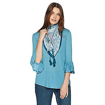 ONEWORLD Women's 3/4 Sleeve Stripe Top with Tassel Scarf, Aquifer, XLarge