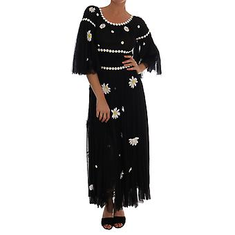 Dolce & Gabbana Black Silk Daisy Embroidered Dress