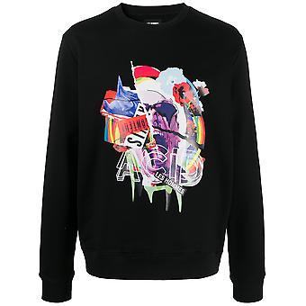 Les Hommes Lih211756p9000 Men's Black Cotton Sweatshirt
