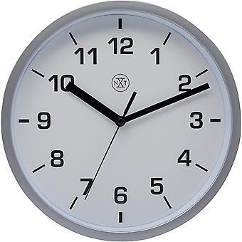 nXt- Wall clock - 20cm Ø - Plastic - Silver - 'Easy Small'