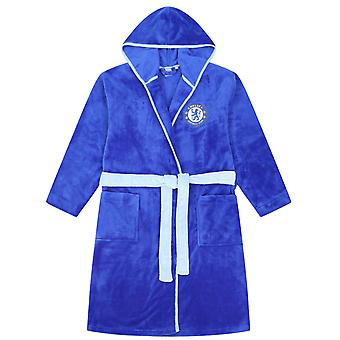 Chelsea FC Official Football Gift Mens Hooded Fleece Dressing Gown Robe