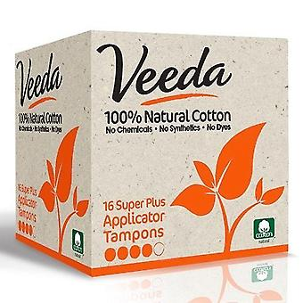 Veeda 100% natural cotton tampons with applicator, super plus, 16 ea