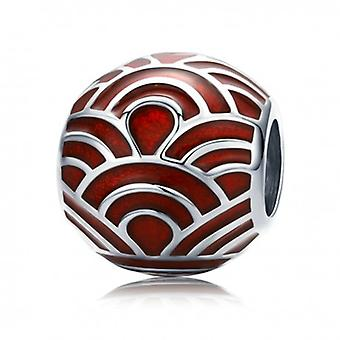 Sterling Silver Charm Red Waves - 6416