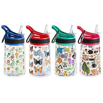 350ML BPA Free Water Bottle & Carabiner. 4 Designs. Boys