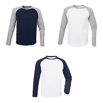 Skinnifit Mens Raglan Long Sleeve Baseball T-Shirt