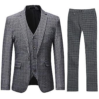 Allthemen الرجال & apos&ق الأسود & كما نمط الشبكة الصورة 3-قطع كلاسيك عارضة و الرسمية البدلات البرية Blazer & Trousers & Tux Vest