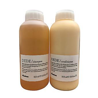 Davines Dede Herkkä Daily Shampoo & Hoitoaine Kaikki hiustyypit 33.8 OZ Set