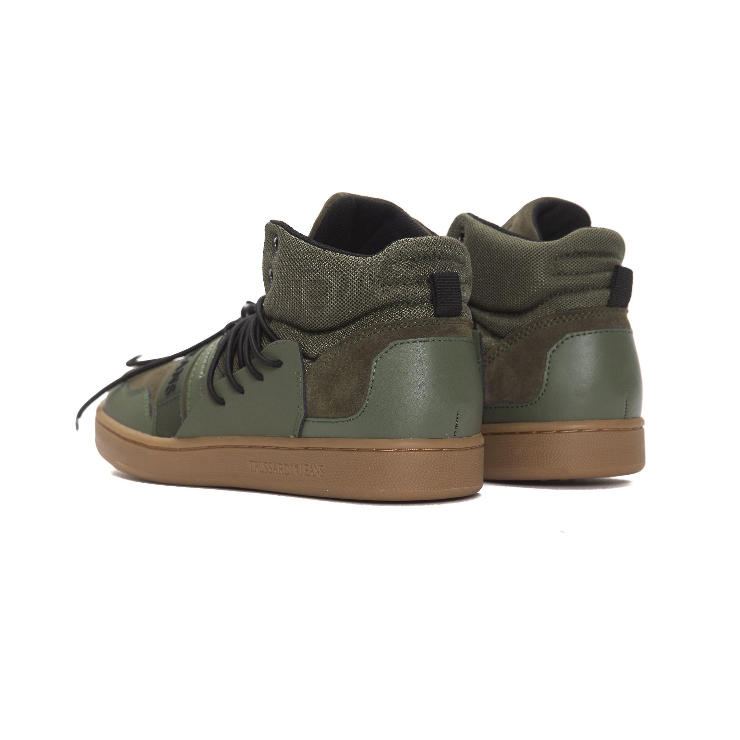 Trussardi Jeans Verde Mil. Baskets militaires