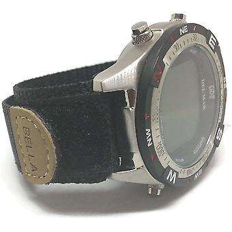 Velcro hook and loop fabric watch strap black with stainless steel ring 18mm