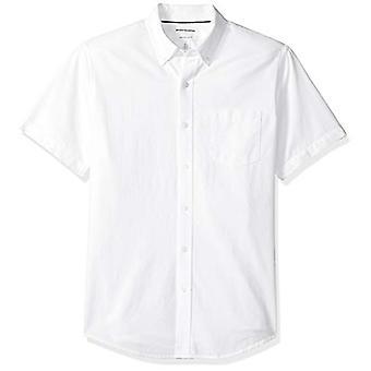 エッセンシャルメン&アポスのレギュラーフィット半袖ポケットオックスフォードシャツ、ホワイト、..