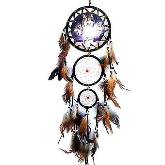 Creative Wall Decorations Wolf Pattern Indian Dreamcatcher - Retro Feathers