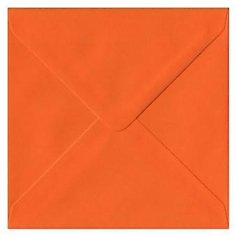 Orange Gummed 130mm Square Coloured Orange Envelopes. 100gsm FSC Sustainable Paper. 130mm x 130mm. Banker Style Envelope.