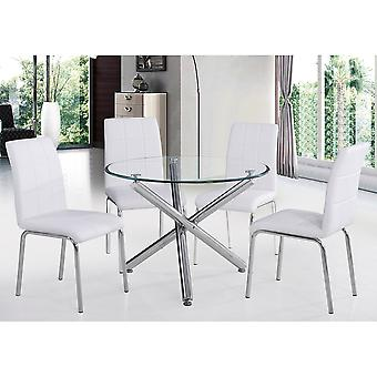 """Lincoln Ii 5Pc 40"""" Dining Set - Chrome Table/White Chair"""