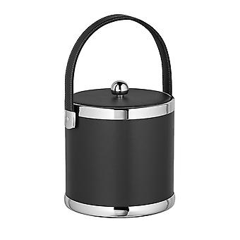Contempo Black 3 Qt. Ice Bucket, Fabric Lid, Matching Stitched Handle, Chrome Upper And Lower Rings