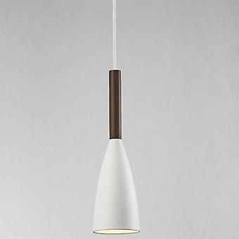 1 Light Slim Dome Ceiling Pendant White, Oiled Walnut 10cm, E27
