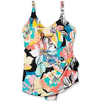 Maxine Of Hollywood Women's Side Tie Wide Strap Sarong Swim Dress One Piece S...