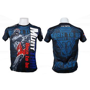 T-Shirt Muay Thai Top Thai Boxing MMA Sport Wear Unisex - (Black)