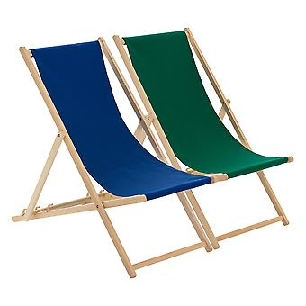 Traditional Adjustable Beach Garden Deck Chairs - Navy / Green