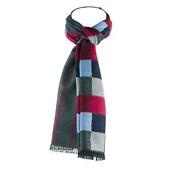 Krawatten Planet Tresanti Schattierungen von grau, blau, rot kariert & grau & Burgund gestreift doppel Gesicht Schal