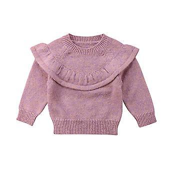 Herfst Winter Pasgeboren Baby Tops Ruffle Gebreide warme trui