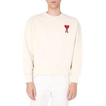 Ami H20hj034747150 Men's White Cotton Sweatshirt