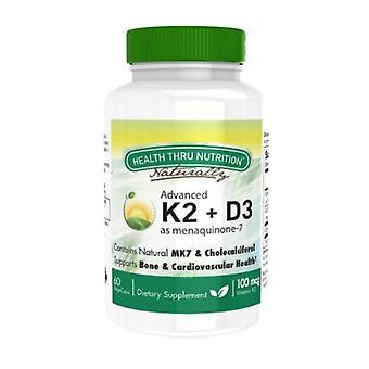 Health Thru Nutrition Advanced K2 as Menaquinone 7 + Vitamin D3, 60 Softgels
