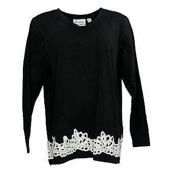 Linea por Louis Dell'Olio Women's Top V-Neck W/Lace Applique Black A347498