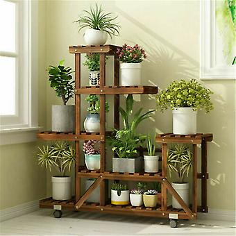 5 Tier Hout Plant Stand Rolling Flower Plank