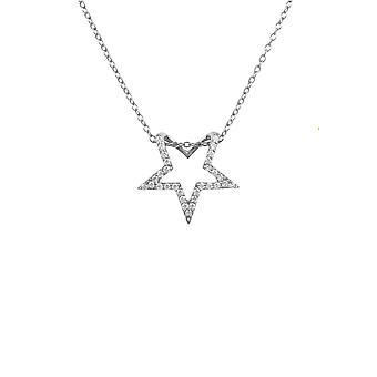 Diamond Gemstone Star hängsmycke halsband 925 silver rund lysande vit gåva