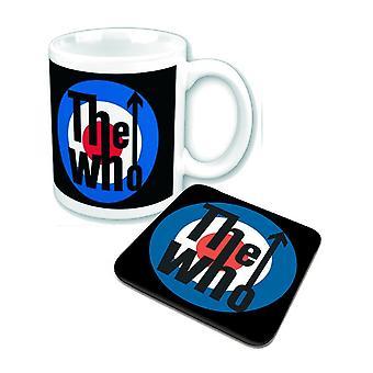The Who Mug and Coaster mod target band Logo new official Gift set