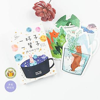 Cute Cup Animal Postcard/ Greeting, Message Card, Birthday Letter Envelope